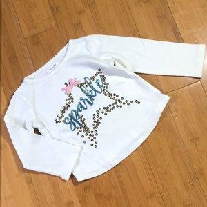 Mud Pie Shirts & Tops - mudpie sequin sparkle dazzle tee white 24M-2T/3T